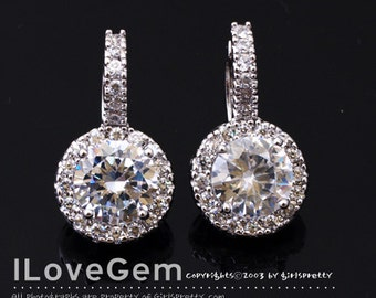 SALE / 10pcs /  NP-1553 Rhodium plated, 8mm CZ Leverback, Cubic Earrings / Wedding jewelry