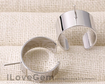 NP-1574 Rhodium Plated, 10mm wide, Adjustable ring, 2pcs
