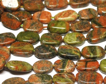 Natural Unakite Oval Beads - 13'' STRAND  - 10x7 mm - 140916-01