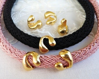 Gold Snake Ring Spacer Finding, Tube Slider for use with 10x6mm Licorice Leather Cord, 14x15,5mm/ H 7x10mm-2 pieces