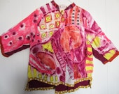 Hand painted cotton blouse Upcycled recycled fits sizes Thru 1X