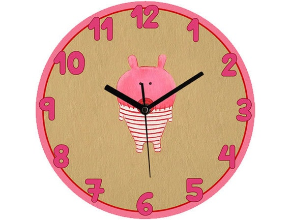pink pig clock children wall clock nursery clock pink wall