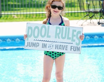 Wooden Sign Pool Rules Vintage Style Typography Word Art Sign (for indoor use)