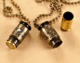 "Wedding set of mini time capsules - ""Tie The Knot"" etched bullet pendant - bullet necklace - locket"