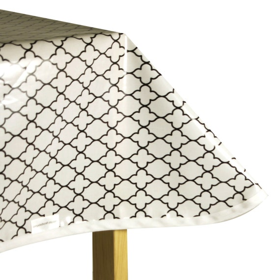 laminated cotton oilcloth tablecloth white with black mosaic. Black Bedroom Furniture Sets. Home Design Ideas