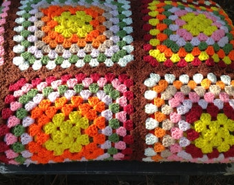 Vintage Crocheted Afghan - Granny Squares - Brilliant Fall Colors - Bedspread - Blanket