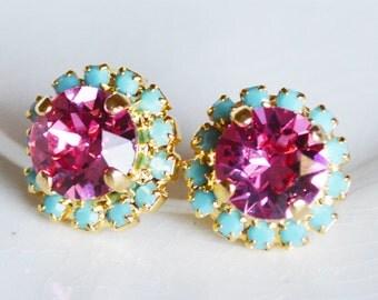 Lilly Earrings Pink Turquoise Stud Earrings Rhinestones Swarovski Pink Turquoise Post  Pavé Earrings