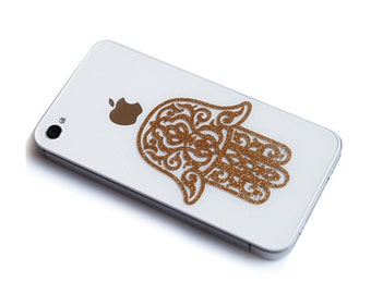 2Pcs Glitter Golden Chamsa Blessing Hand _Apple iPhone Decal iPhone 4s Sticker Avery iPhone 5 Back cover decal sticker Skin