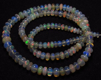 Welo Ethiopian OPAL- Smooth Polished  Rondell Beads Gorgeous Fire and Transparent  size - 3.5 - 6 mm - 16 inches Full Strand