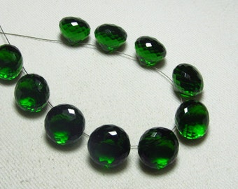 Brand New - 5 Matched Pairs - Emerald Green Quartz - Faceted Onion Briolettes amazing Gorgeous sparkle Huge Size 13x13 mm