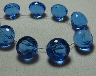 Brand New - 5 Matched Pairs - Sky Blue Colour Quartz - Faceted Onion Briolettes amazing Gorgeous sparkle Huge Size 13x13 mm