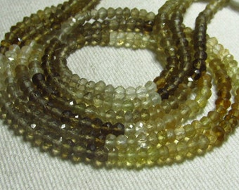AAAA - High Quality 14 Inches - So Gorgeous - HONEY Quartz - Shaded Micro Faceted Rondell Beads super sparkle size 3 - 4 mm approx