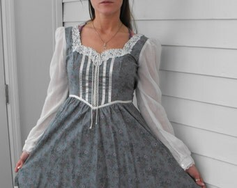 Vintage Gunne Sax Dress 70s Country Blue Floral 5 XS XXS Hippie Boho Prairie