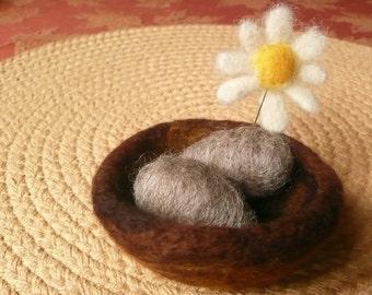Needle Felted Pincushion Bird's Nest Eggs Daisy Fiber Art