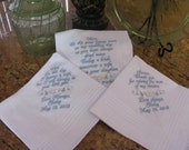 Personalized Father, Mother of the Bride and Groom machine embroidered wedding handkerchief by Sweet Sewing Jeans