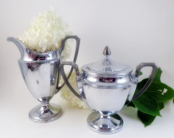 Vintage Chic Chrome Creamer and Covered Sugar MCM Shabby