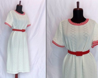 SALE 1970s White Day Dress with Red Trim. Classic A Line Style. Mad Men Summer Fashion. By Puritan Forever Young. Size Large to Extra Large