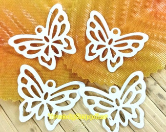 6 Pcs, White 18x21mm Butterfly Filigree Charm (RF023)