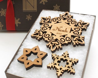 Babys First Christmas Ornament Personalized Wood Snowflake with Custom Name Engraving . Custom Ornament Gift Box Set with Monogram Box