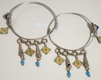 Lovely pair of silver Moroccan Berber enamel / glass earrings.