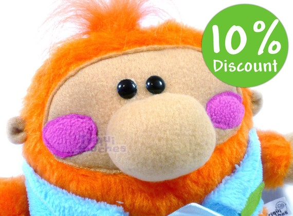 Bernard orange baby plush. A cute baby Triquimoche. Art Toy