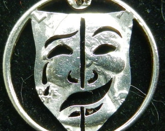 Comedy Tragedy Mask Hand Cut Coin Jewelry