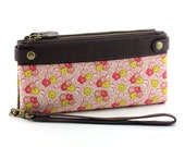 Handmade wallet clutch /Double zipper wallet (flowers in dark brown leather)