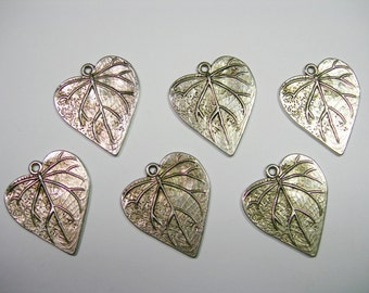 Silver Plated Leaf Drops Charms - Pendants - 26mm - 6