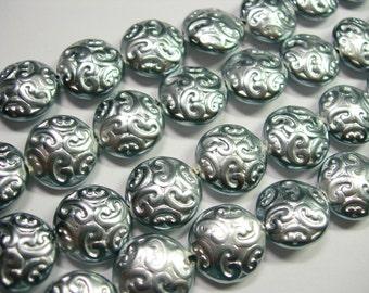 10 Lovely Czech Glass Button BEADS 14mm Silver Pearl