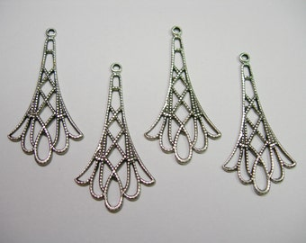 Silver Plated Brass Victorian Filigree Earring Drops Findings Stampings
