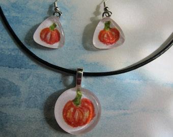 Fun Pumpkin, glass tile Pendant & earring set, original watercolor paintings Thanksgiving Autumn Fall halloween
