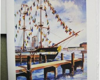 Gasparilla Pirate Fest Festival 5x7 note card watercolor print Tampa Florida Souvenir