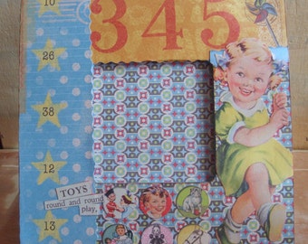 Retro games and toys decoupaged picture frame