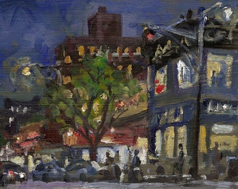 Inwood Nocturne NYC. Original New York Oil Painting on Panel, Small 5x7 Impressionist Plein Air Fine Art, Signed Original Realist Cityscape