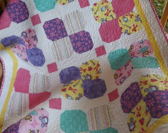 Modern Patchwork Baby Quilt  purple pink yellow Fun Flowers Baby Girl Quilt