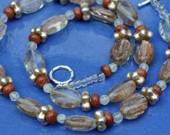 Glittering Hazelnut Quartz Goldstone Crystal Necklace