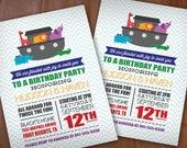 NOAH'S ARK Birthday Party Printable Invitation in Rainbow- Red, Green, Blue, Purple, Yellow, Orange