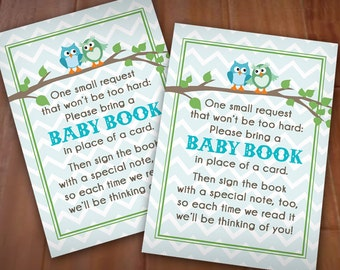 Owl BRING A BOOK Baby Shower Card in Seafoam Green and Teal- Instant Printable Download