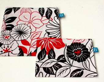 Reuseable Eco-Friendly Set of Snack and Sandwich Bags in Black, White and Red Floral Print Fabric