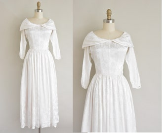 1940s wedding dress / satin floral print dress / 40s wedding dress