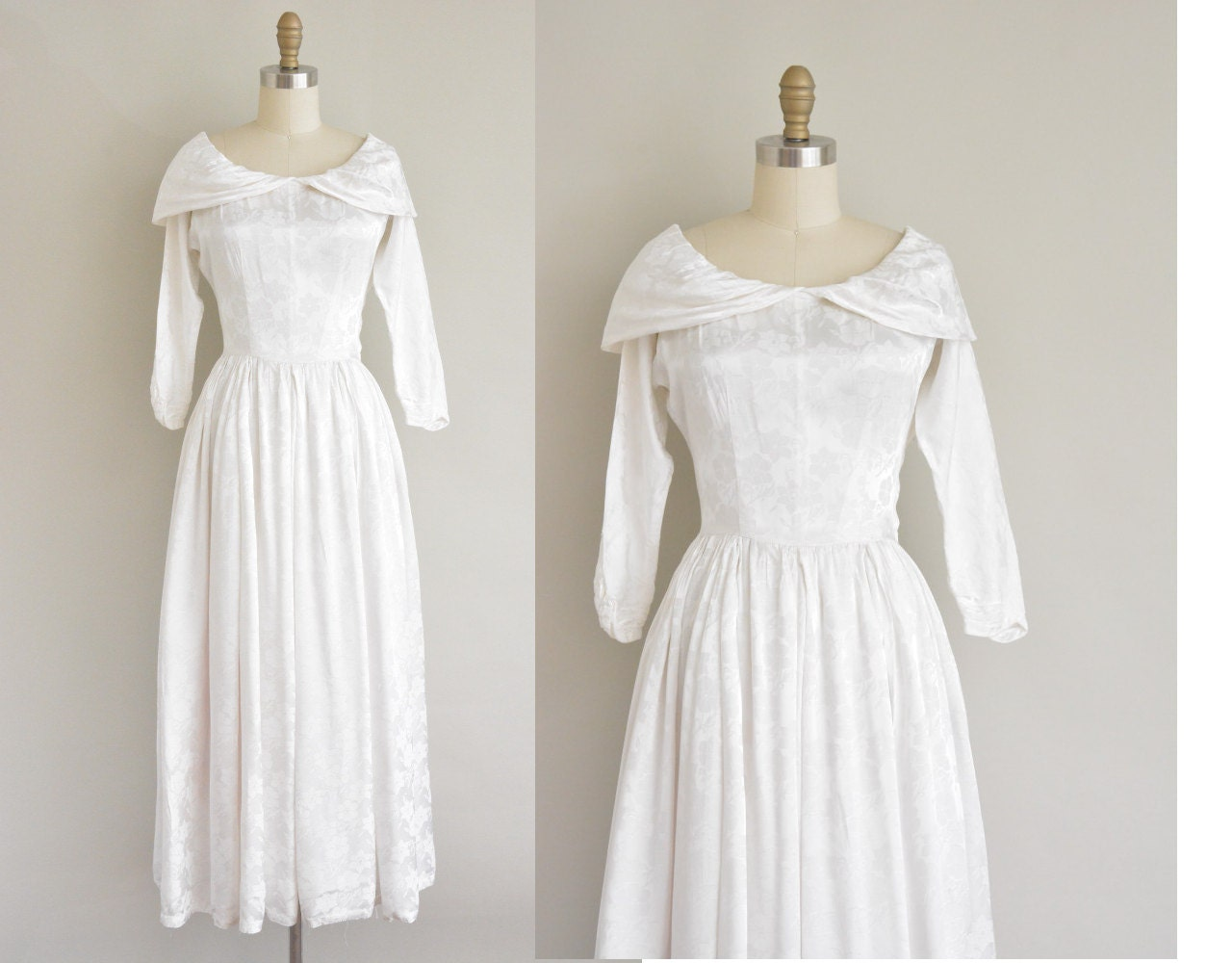 1940s Wedding Dress / Satin Floral Print Dress / 40s Wedding