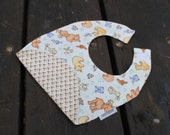 Forest Animals Double Side Bib / Free Shipping Flannel Baby Boy Bib / Toddler Bib Made In Israel by CasaDeGato