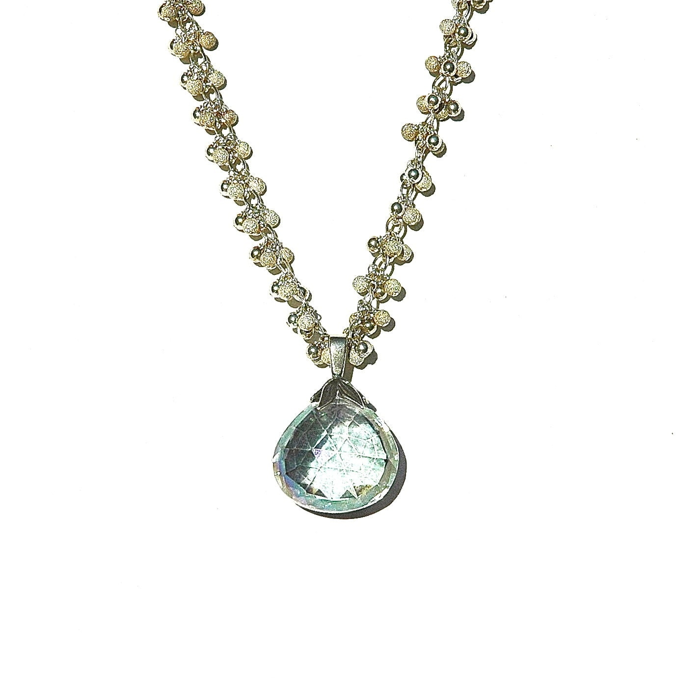 mystic rainbow topaz raindrop necklace