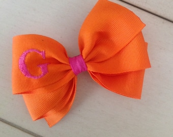 Orange Monogrammed Bow with hot Pink Initial by Cheryl's Bowtique