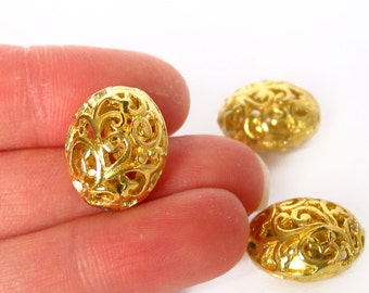 10pcs Filigree oval 16mm x 13mm bright gold charm pendant hollow beads metal findings LEAD FREE 3D