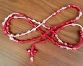 Red and White Knotted Cord Rosary