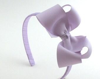 Pastel Lavender Hair Bow, Big Girl Plastic Hard Headband, Toddler Girl Bow Headband, Flower Girl Headband, Toddler Headband