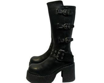 Vintage Mens Platform Boots Black Leather Buckle Zip Side Stacks From Spain Fits Mns US Size 9