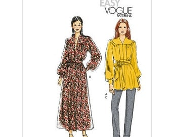 Sz 14/16/18/20/22 Vogue Separates Pattern V8826 - Misses' Tunic, Dress, Belt and Pants - Very Easy Vogue