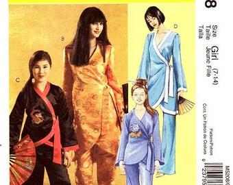 Girls Costume Pattern McCall's M5208 - Girls' Asian Costumes - Robe and Pants  Sz 7 thru 14